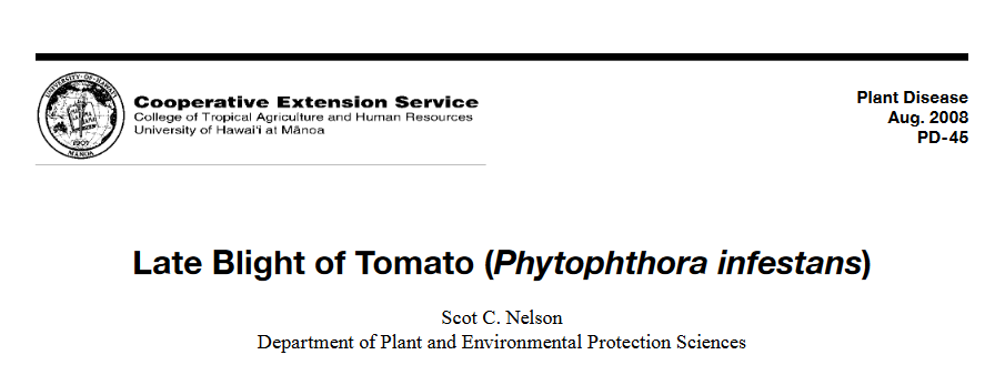 Late Blight of Tomato (Phytophthora infestans)